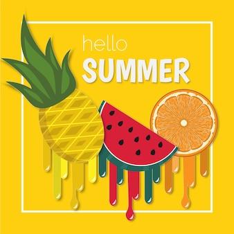Hello summer fruit melting vector banner paper cut style.