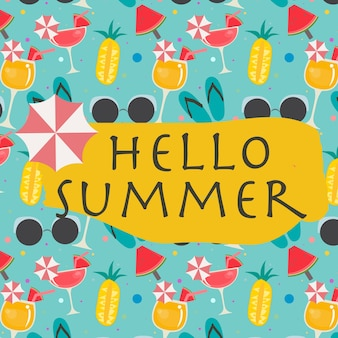 Hello summer funny background pattern