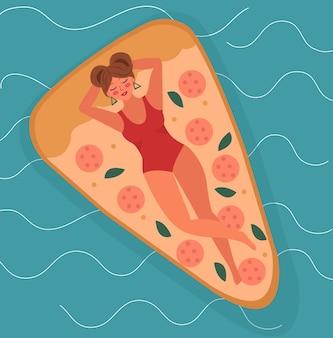 안녕하세요, 바다나 수영장에서 수영하는 피자 매트리스에 있는 여름 소녀입니다. 여름 휴가 그림입니다. 벡터.