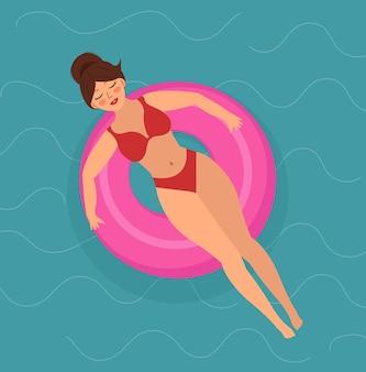 안녕하세요, 수영 링에 있는 여름 소녀는 바다나 수영장에서 수영합니다. 여름 휴가 그림입니다. 벡터 일러스트 레이 션.