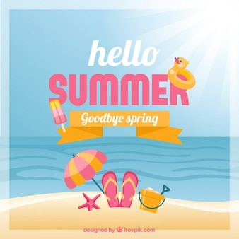 Hello summer, goodbye spring Premium Vector