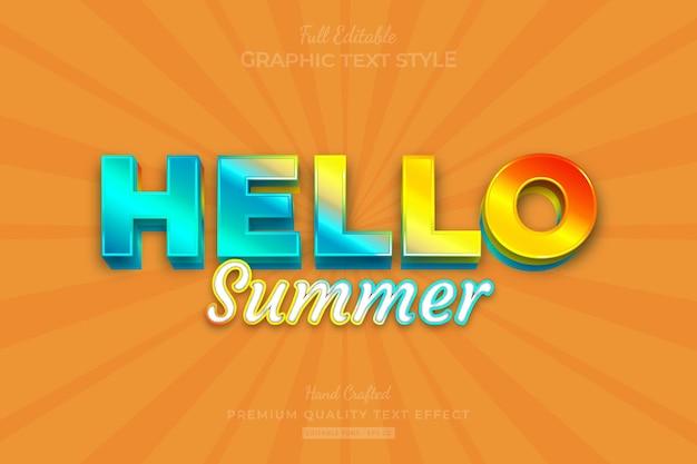 Hello summer gradient editable premium text effect