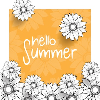 Hello summer greeting background with orange color