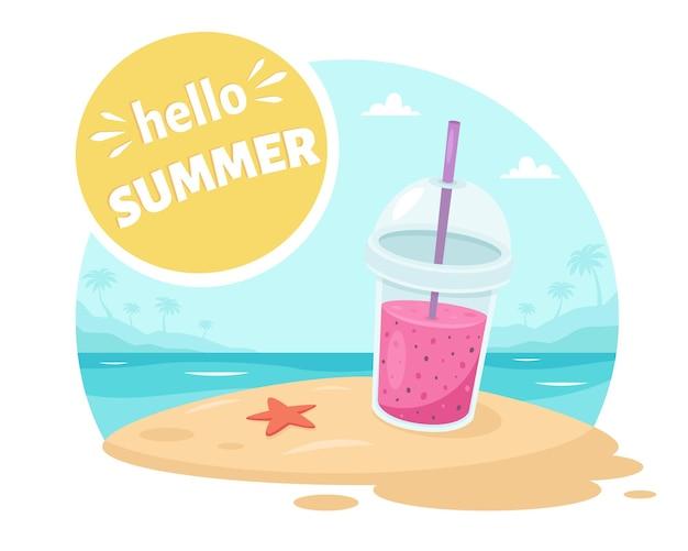Привет, летняя открытка, пляж на берегу океана с фруктовым смузи