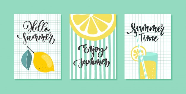 Hello summer greeting card set with calligraphy. hand drawn  modern lettering.