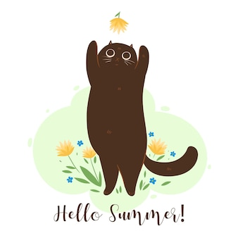 Hello summer greeting card with cat and flowers