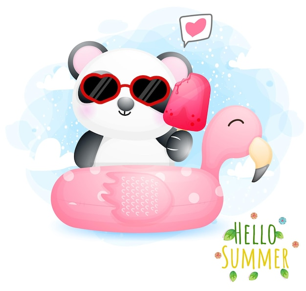 Hello summer greeting card with cute doodle baby panda holding ice cream on a flamingo buoy