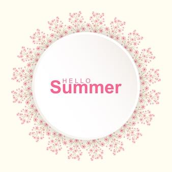 こんにちは花の花輪と夏の挨拶カード