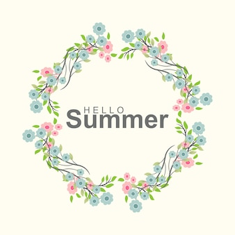 Hello summer greeting card with flower wreath