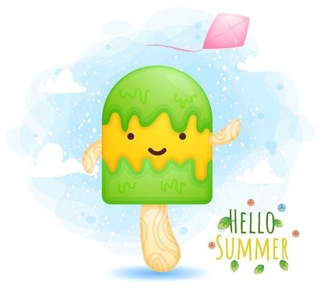Hello summer greeting card with ice cream playing kites