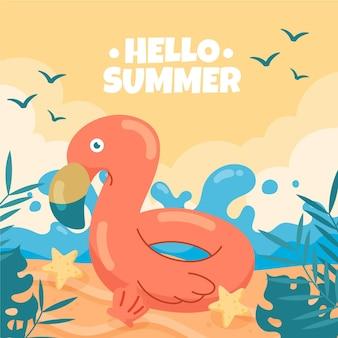 안녕하세요 여름 손으로 그린 배경