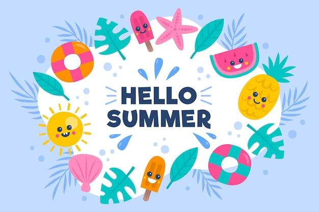 こんにちは夏の手描きの背景