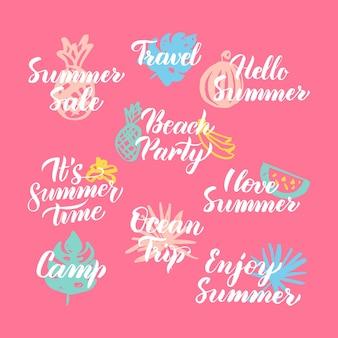 Hello summer hand drawn quotes. vector illustration of handwritten lettering seasonal design elements.
