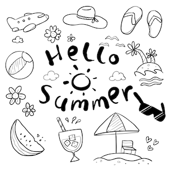 Hello summer hand drawn