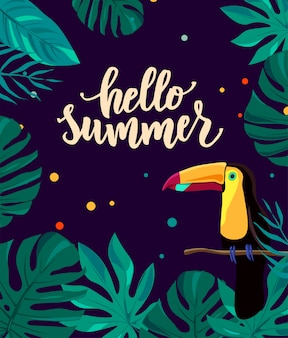 Hello summer hand lettering text with cute bright toucan and tropic leaves.