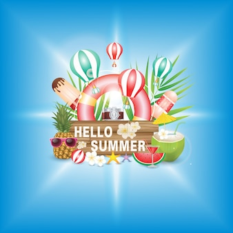 Hello summer holiday, font on wood texture. with flower and beach ball on green background. tropical plants, float, palm leaves, ice cream, pineapple