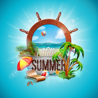 Hello summer holiday illustration with ship steering wheel