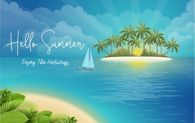 Hello summer holiday poster with beach scenery
