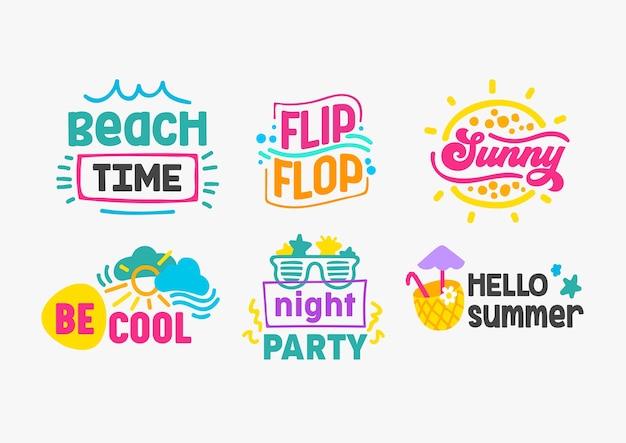Hello summer holidays lettering set