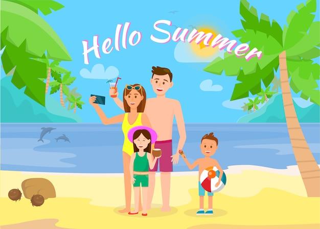 Hello summer horizontal banner. family at seaside.