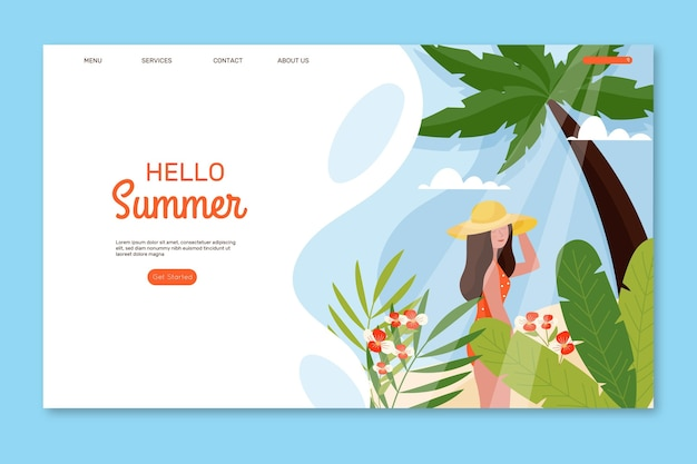 Hello summer illustrated landing page