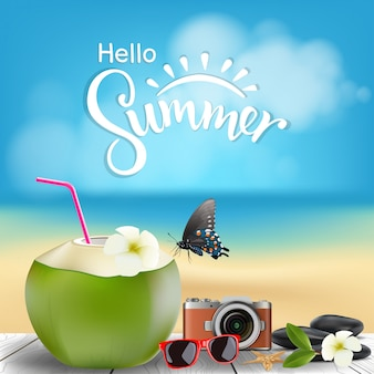 Hello summer illustration, coconut cocktail on wooden floor with summer beach