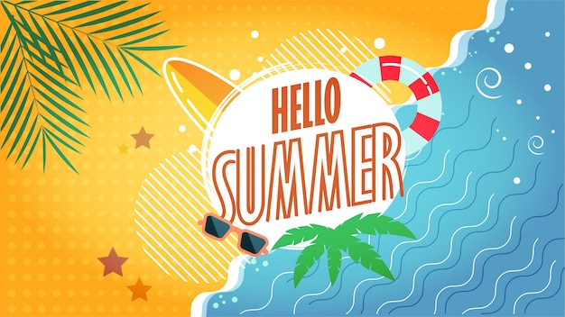 Hello summer illustration of tropical beach
