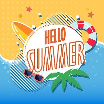 Hello summer illustration of tropical beach