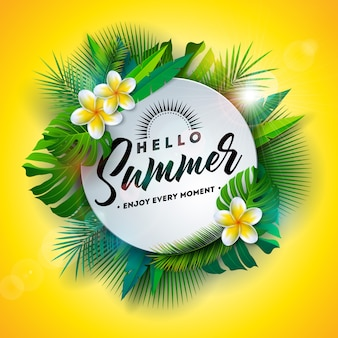 Hello summer illustration with flower and tropical plants