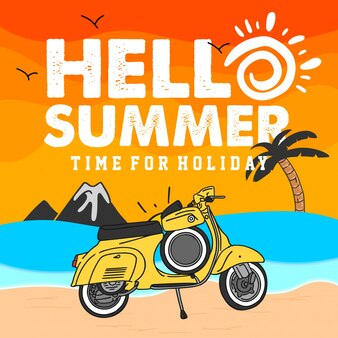 Hello summer illustration with vespa