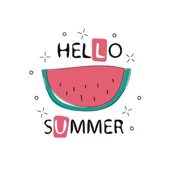 안녕하세요 수박의 배경에 여름 비문. 녹색 패션입니다. 흰색 배경에 벡터 일러스트 레이 션. 트렌드 서예. 티셔츠 그래픽용 - 귀엽고 심플한 텍스타일 그래픽