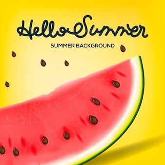 Здравствуйте, лето надпись на фоне арбуза. желтая мода, иллюстрация