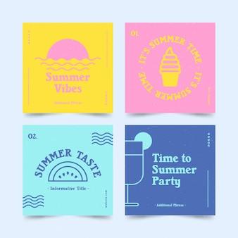 Hello summer instagram post set