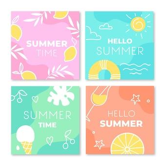 こんにちは夏instagramポストセット