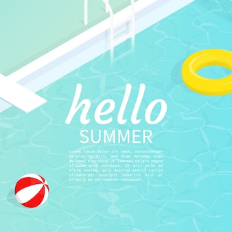 こんにちは夏アイソメプールプールフロートビーチボールベクトル