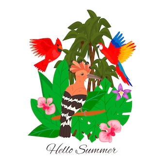 Hello summer, jungle tropical palm tree leavesflowers. exotic hawaii tropical birds.