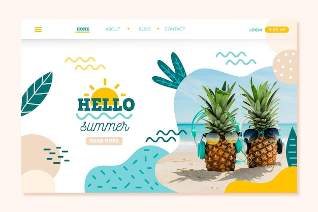 Hello summer landing page concept