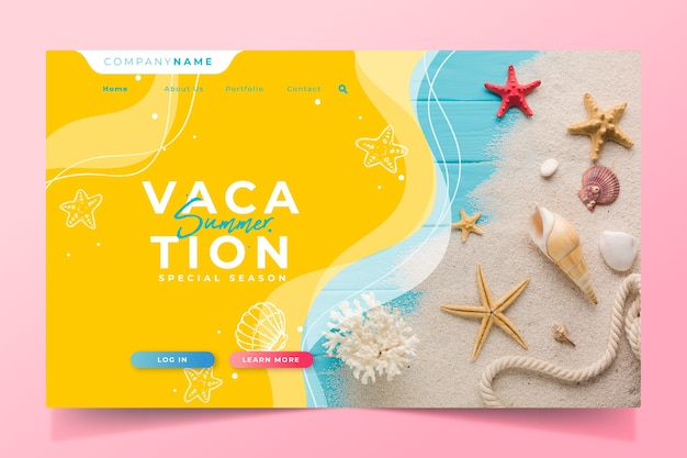 Hello summer landing page shells and star fish