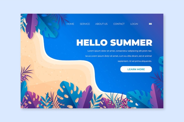 Hello summer landing page template style