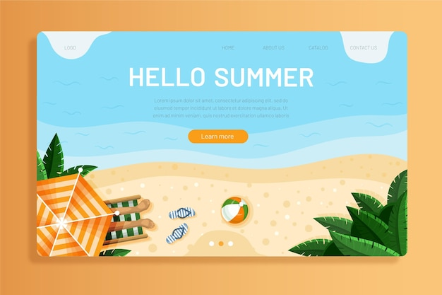 Hello summer landing page template with photo