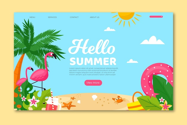 Hello summer landing page template
