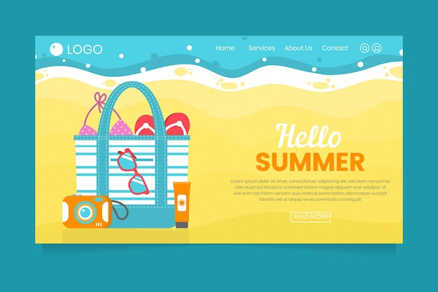 Hello summer landing page with beach and bag