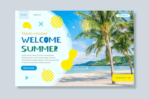 Hello summer landing page with beach and palm trees