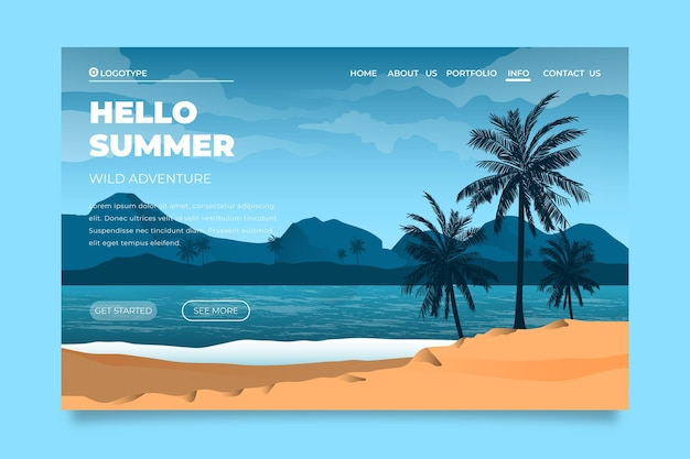 Hello summer landing page with beach and sea