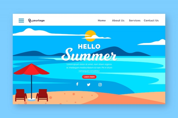 Hello summer landing page with beach and van