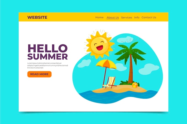 Hello summer landing page with beach