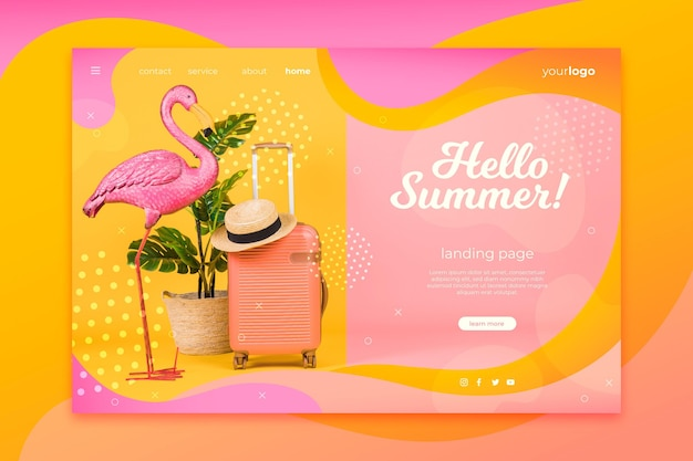Hello summer landing page with flamingo and luggage