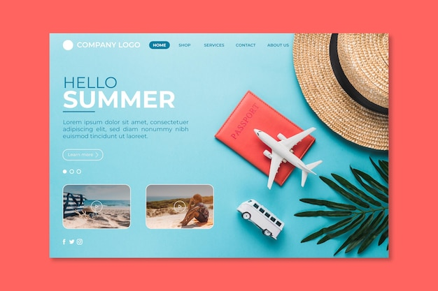 Hello summer landing page with hat and airplane