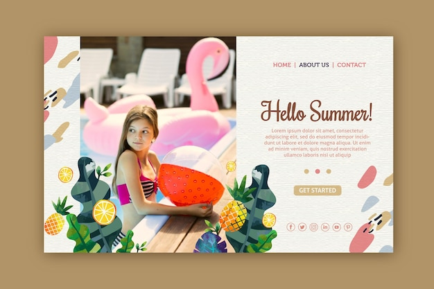 Hello summer landing page with image