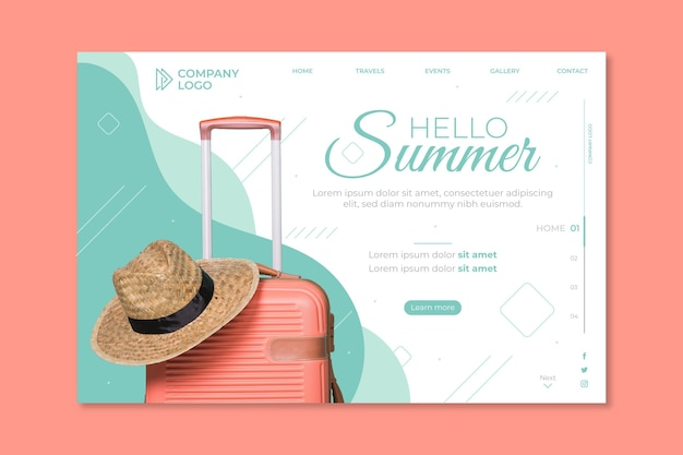 Hello summer landing page with luggage and hat